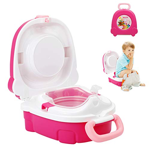 Homealexa Vasino Portatile Bambini da Viaggio Piccolo Gabinetto Toilette Riutilizzabile Sedile WC Bimbi Pieghevole per Imparare a Usare Vasino (Rosa)