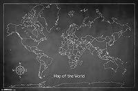 ワールドチョークマップ白黒キャンバスプリントポスターとリビングルームの装飾のための写真の壁アート写真-60X80Cmフレームレス