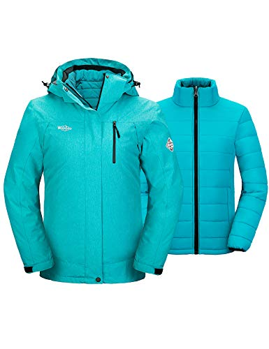 Wantdo Women's 3-in-1 Waterproof Ski Jacket Windproof Winter Coat Turquoise XL