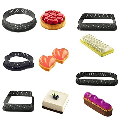 Qingsi - 10 anillos de plástico para tarta, molde de chocolate, anillo de tarta perforado, anillo de mousse para tartas y tartas