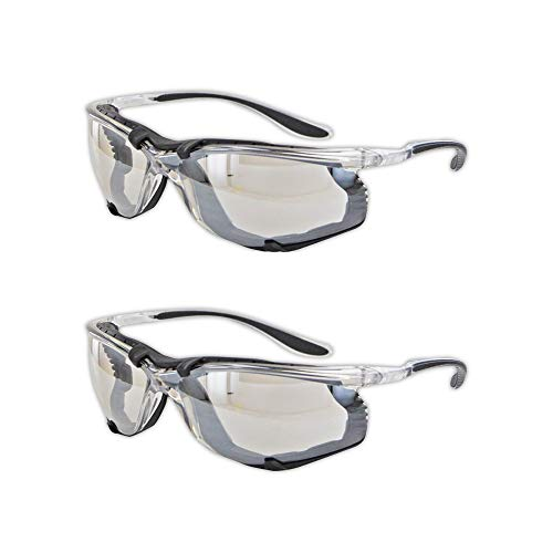 Magid Safety Y84BKAFIO Protective Glasses   Sporty Impact Resistant Clear Safety Glasses with a Removable Foam Liner & Black TPR Temples - UV Protection, Anti-Fog, Scratch Resistant (2 Pair)