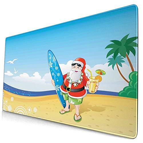 HUAYEXI Alfombrilla Gaming,Navidad Santa Claus en la Playa con Tabla de Surf Celebración de la Fiesta de Verano Arte Tropical,con Base de Goma Antideslizante,750×400×3mm