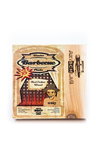 Axtschlag Grillbretter Zeder, 4 quadratische Wood Planks zum schonenden Garen mit aromatischer Rauchnote und Servieren, für alle Grills, 150x150x11 mm, mehrfach verwendbar