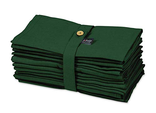 S4Sassy Grün solide Wohnkultur 12 X Holiday Parties Tischtuch Leinen Wiederverwendbare Abendessen Servietten Set