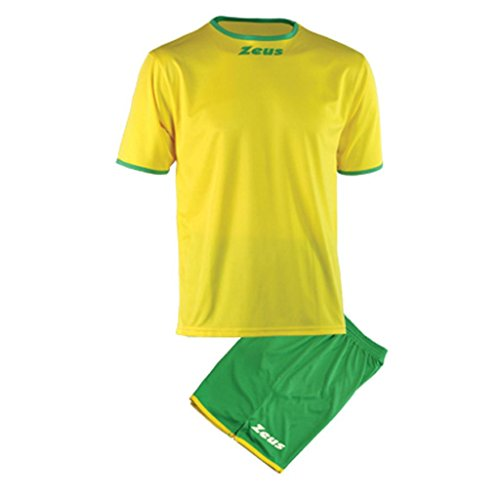 Kit Zeus Sticker Giallo-Verde Completino Completo Calcio Calcetto Muta Torneo Scuola Sport (M)