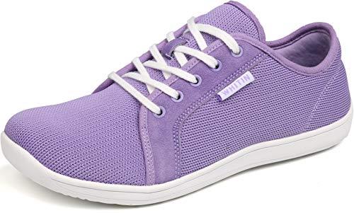 WHITIN Damen Knit Barfussschuhe Traillaufschuh Schuhe Barfußschuhe Barfuß Trekkingschuhe Minimalschuhe Trail Laufschuhe Zehenschuhe Laufschuh Sneaker für Frauen Zuma Running Shoes Lila gr 37 EU