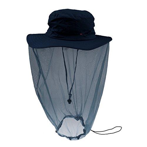 Generic Femmes Anti-moustiques Insectes Casquette en Plein Air Masque Protège de Cou - Taille Unique, Bleu Marine