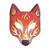 Máscara de zorro japonesa de Amosfun Kabuki Kitsune Mascaradas para hombres, mujeres y niños, disfraz de Halloween
