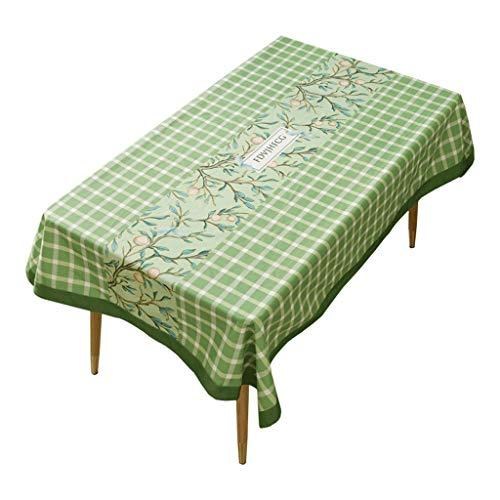 Eettafel, waterdicht, rechthoekig, tafelkleed voor op het bureau, stof, groen