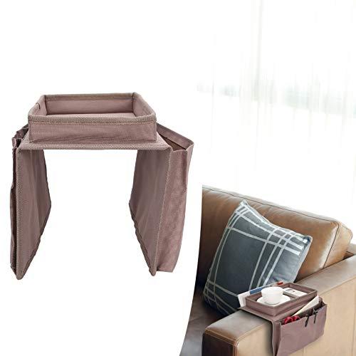 Bolsa de almacenamiento para sofá, bolsa de reposabrazos de sofá resistente al desgaste resistente al agua, duradera con una bandeja superior para almacenamiento de sofá de pequeños aparatos(marrón)