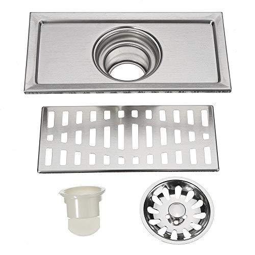 PIJN Bodenablauf Tile Linear Dusche Nassraum Badezimmer Edelstahl Bodenablauf (Color : Silver, Size : 20x10cm)