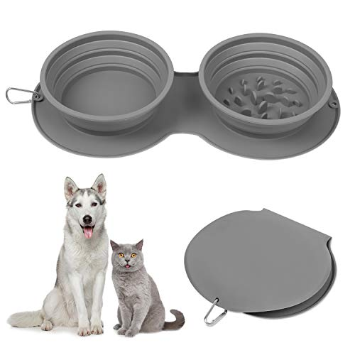 LTBLBY Double Collapsible Dog Bowls, Portable Travel Pet Slow Feeder Bowls, Foldable Expandable Cup...