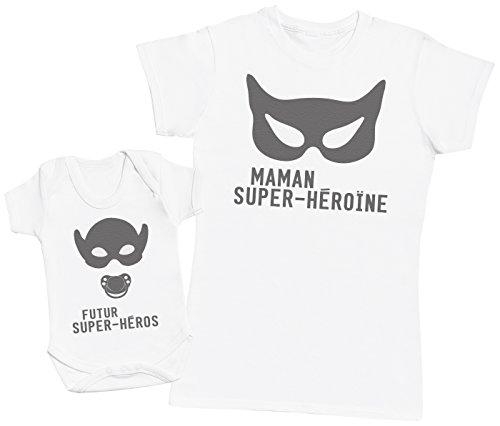 Zarlivia Clothing Futur Super-Héros & Maman Super-Héroïne - Un Article – Partie d'Un Ensemble - Femme T-Shirt - Blanc - M