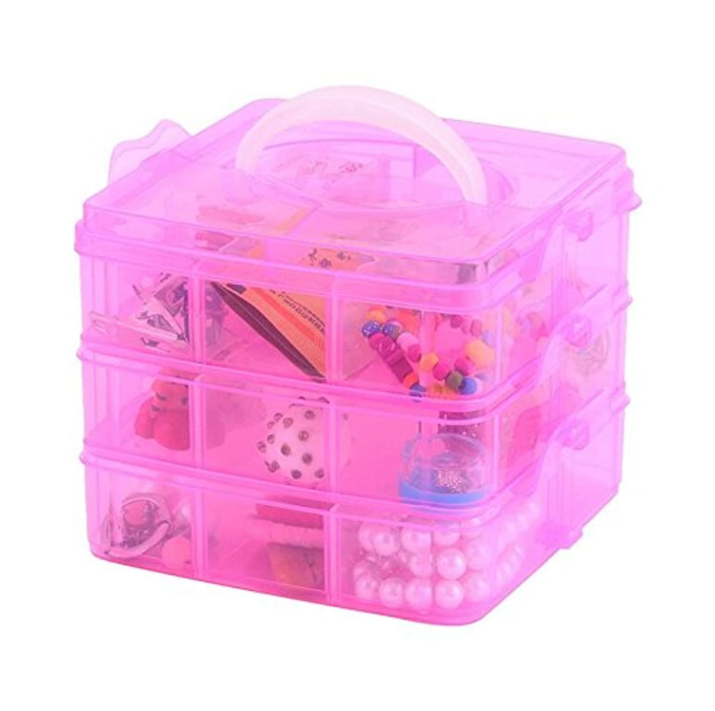 Kamay's Medium 3 Tier Stackable Adjustable Compartment Slot Bead Craft Jewellery Tool Storage Organiser Snap-lock Tray Container, with 18 Compartments, Container Box Pink