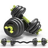 YQCH Peso Dumbbell Barbell Set 3-In-1 Home Fitness Equipo de Peso Libre Barra Curvada Juego de Peso para Hombres Mujeres Gimnasio Entrenamiento Entrenamiento Entrenamiento de Fuerza Usado como Barra