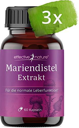 effective nature - Mariendistel-Extrakt im Vorteilspack - Enthält 80% Silymarin - Ohne Zusatzstoffe - 3-mal 60 vegetarische Kapseln