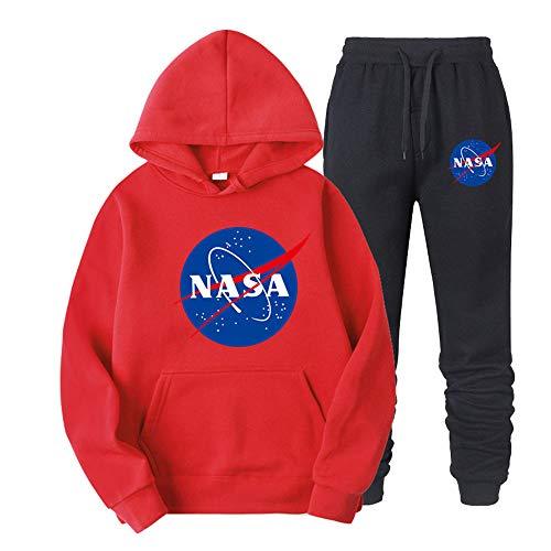 ATHIHOOD Unisex NASA Druck Jogginganzug Trainingsanzug Sportanzug Herren Tracksuit Hoodie Pullover + Sporthose XS-XXL (Rot-h,M)