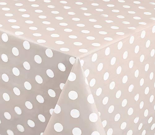 Home Direct Mantel de Hule, Redondo 160 cm Lunares Beige Gris