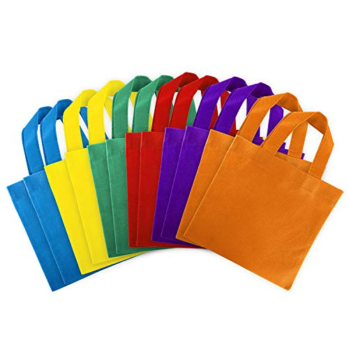 Assorted Colorful Solid Blank Canvas Party Gift Tote Bags Rainbow Colors with Handles for Birthday Favors, Snacks, Decoration, Arts & Crafts, Event Supplies (12 Bags) by Super Z Outlet (8