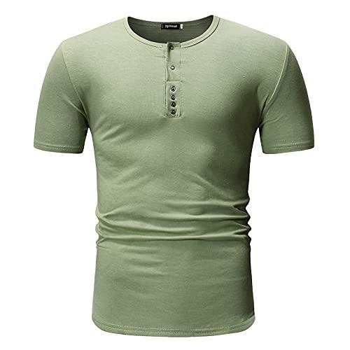 CFWL Camiseta De Manga Corta para Hombre Camiseta De Cuello Redondo De Tubo Abierto Informal De Color SóLido...