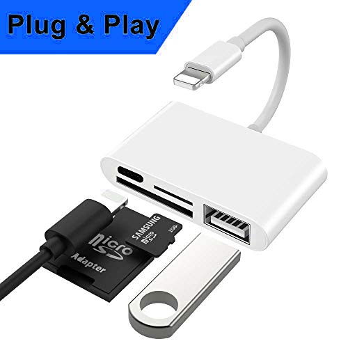 SD Kartenleser 4 in 1 Card Reader [SD-MicroSD-USB-PD] Kartenleseradapter kompatibel für iPhone XS, XR, XR Max, X, 8, 8 Plus, 7, 7 Plus, iPad Air, 2, iPad kompatibel mit iOS 12 (Weiß)