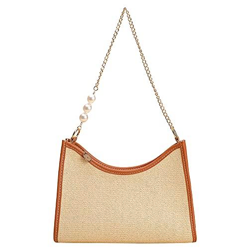 DHYED Bolso de hombro para mujer, con forma de media luna, bolso de cadena con perla, cartera informal, Paja, 25*20*7cm