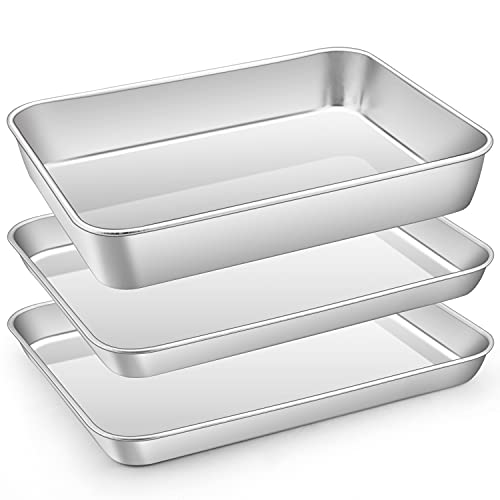 Small Baking Sheet Pan Set, E-far 10.5 x 8.3 Inch Stainless Steel Toaster Oven Cookie Sheet with Rectangle Cake Pan for Cooking, Healthy & Non-toxic, Stackable & Dishwasher Safe (3-Piece)