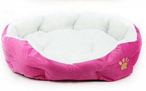 Lumanuby 1x Lit Chien Panier Coussin Pour Chien Nettoyage Rond ou ovale en forme de coussin matelas lit pour Chien/Chat Animaux 46x42x10cm (Rose foncé)