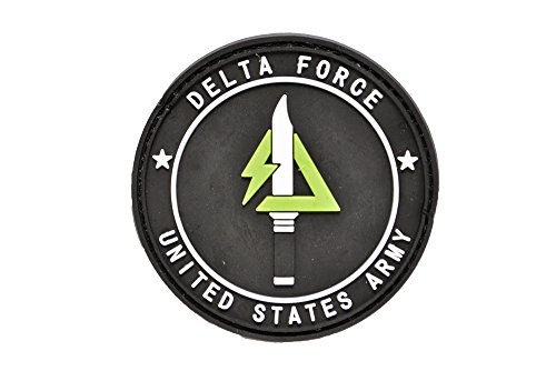 PVC製 丸型 アメリカ陸軍 DELTA FORCE 紋章 ミリタリー ワッペン パッチ サバゲー ベルクロ付き 黒