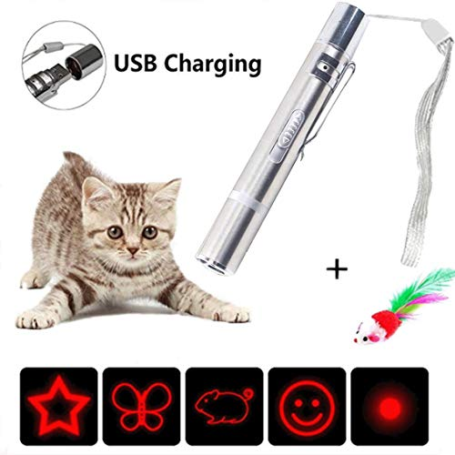 X-CHENG Cat Toys -7 in 1 Mini Interactive- -USB Rechargeable - Pet Cat Catch Single Interactive Exercise Cat Training Tool (gray)