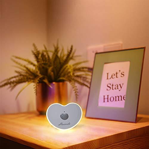 LED Smart Nachttischlampe mit Bewegungsmelder, Herzförmig, Super Sparsam, USB Aufladbare iLight24 LED Nachtlicht für Schlafzimmer, Wohnzimmer, kinderzimmer Büro, Diele, Garderobe, Küche (Warmweiß)