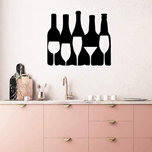 Vinilo etiqueta de la pared decoración de la pared etiqueta de bricolaje botella de vino vidrio pared silueta arte gabinete de vino restaurante cocina etiqueta de la pared 72945Cmx65Cm