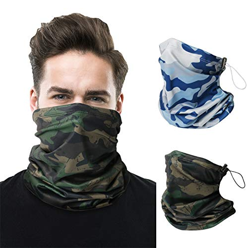 2 PCS Neck Gaiter Warmer Mask for Men Women, Winter Drawstring Adjustable Ski Mask Reusable Bandana Balaclava.… Camouflage Green