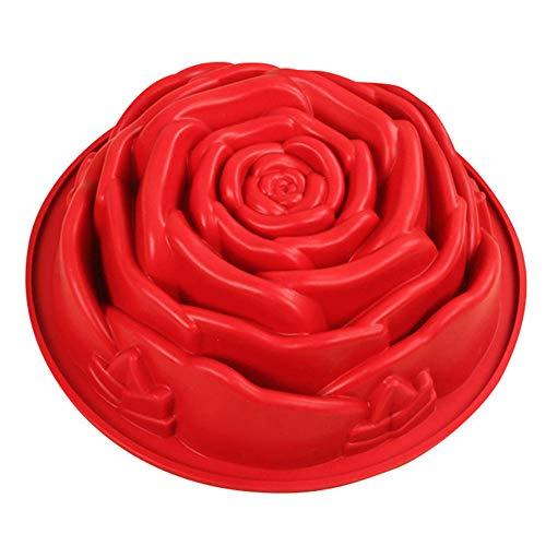 VIONNPPT Große R&e Rose Premium Silikon Backform/Muffinform für Muffins, Cupcakes, Kuchen, Pudding, Eiswürfel & Gelee - Rose Form Brotbackform, 24,5 x 24,5 x 7,5 cm