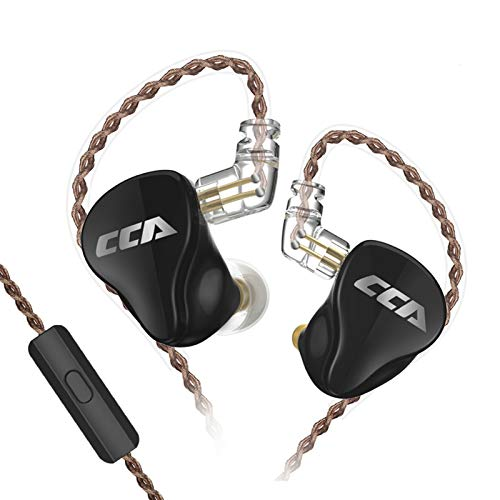 CCA CA16 in-Ear Earphones,1DD+7BA in-Ear Monitors,High-Performance Resin Cavity Wired Earbuds/Headphone/Earphone,HiFi in Ear Monitor with 0.75mm CPin Gold Plated Detachable Cable(Black with Mic)