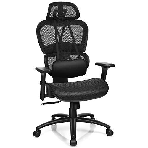 Giantex Mesh Office Chair, High Back Computer Chair w/Removable Lumbar Support, Adjustable Headrest and Armrest, Swivel Reclining Ergonomic Mesh Office Chair(Black)