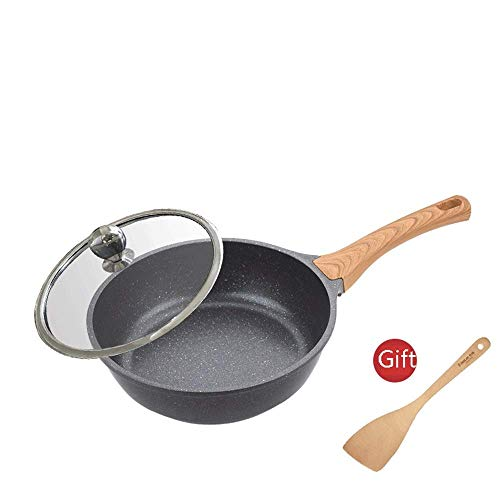 Hard, geanodiseerd Frying Pan set keramiek metaal Utens huis multifunctioneel Maifan steen wok anti-aanbaklaag roestvrij staal met deksel pan eenvoudig voor gasfornuis inductie schoon 2