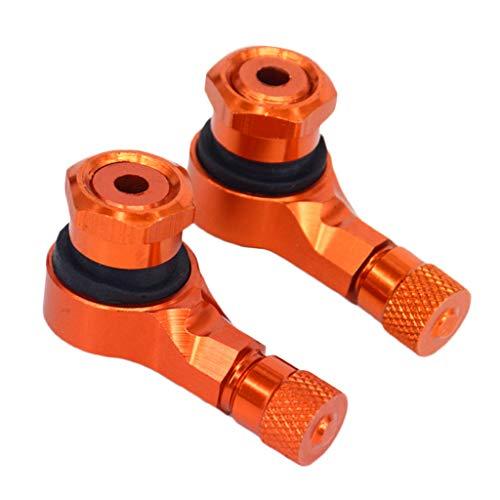 Almencla 2 TLG. Motorrad Reifenventil Felgenventil Ventilschäfte 90 Grad Winkelventil, Leichter Einbau - Orange