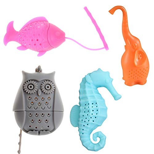 NUOMI Loose Leaf Tea Infuser Silicone Tea Strainers Filters 4 Pack, Long-Handled, Owl/Elephant/Sea-horse/Fish Shaped Infuser