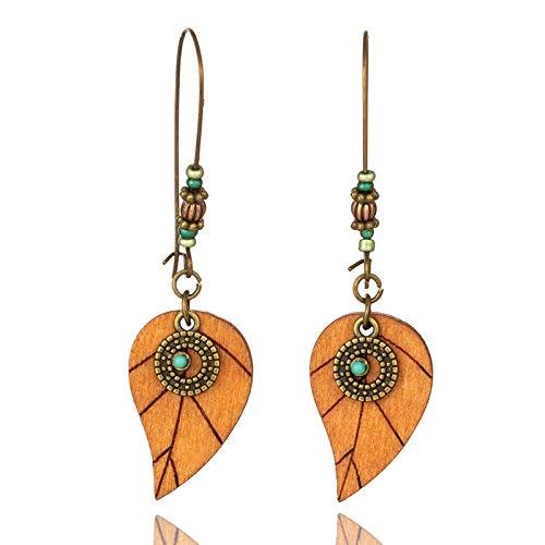 Orecchini lunghi vintage color argento antico boho per donne pendenti pendenti Drop ornamenti foglia legno moda ragazza regalo gioielli-E021562
