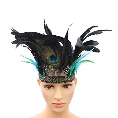 Lurrose indian feather fascinator haarband dekorative indianer kopfbedeckung kopfschmuck haarbänder foto requisiten haarschmuck für party männer frauen