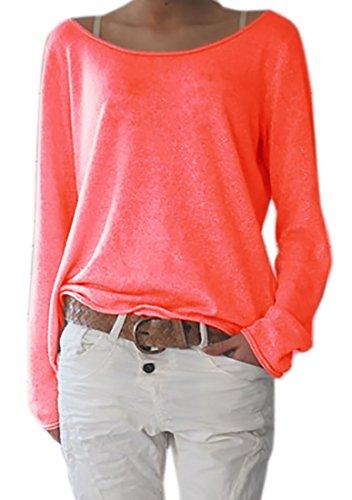Damen Rundhalsausschnitt Langarm Lose Bluse Strickpulli Hemd Shirt Oversize Sweatshirt in vielen Trend Farben Tops S/M L/XL (632) (L/XL, Orange)