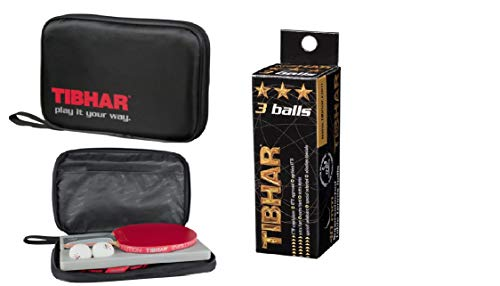 Tibhar Protect Racket Cover, Free: Tibhar 3 Star 40 mm ITTF Approved Celluloid Balls (Pack of 3)
