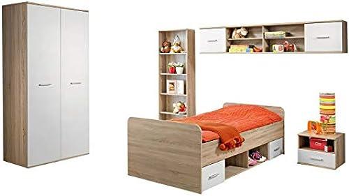 Mirjan24  Jugendzimmer Set Suru I, 5-TLG. komplett  Kleiderschrank, Jugendbett, Nachttisch, Wandregal, Standregal, Top-Qualität (Eiche Sonoma Weiß
