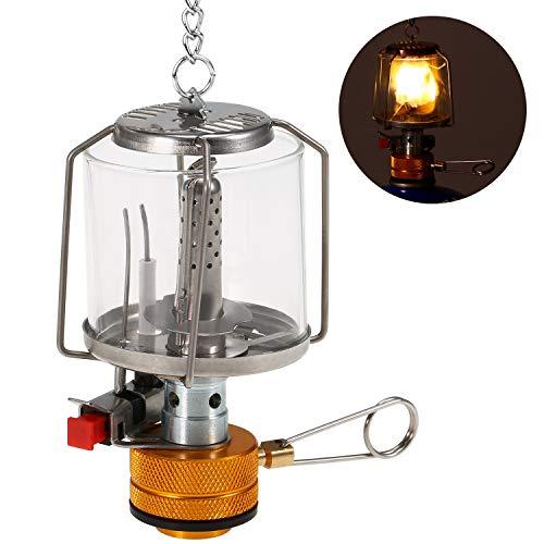 Lixada Camping Laterne Tragbare Gaslaterne im Freien Piezo Ignition Mini Gas Zeltlampe Licht