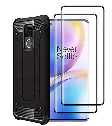 Capa FANFO® para Xiaomi Redmi Note 9, nova [Armadura robusta] [Design mecânico durável] Proteção máxima contra quedas e solavancos, preto + Película protetora de vidro temperado com 2 pacotes
