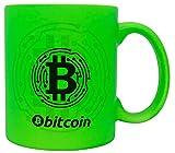 vanVerden Taza de neón con texto en alemán – Bitcoin Chip – KryptoMünung BTC Crypto Cash Mining Blockchain – Impresión por ambos lados – Idea de regalo taza de café, color verde neón