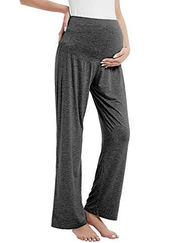 Damen Umstandshose Schwangerschaft Hosen Lang Schlafanzug/Pyjama/Yoga Hose für Schwangere(Dunkelgrau,XXL)