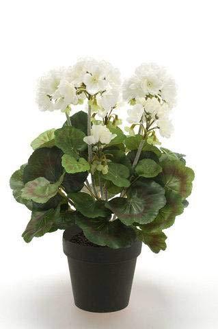Artplants Set 8 x Geranio Artificial MASALIA, Blanco, 35cm - Geranio de plástico/Flor Falsa