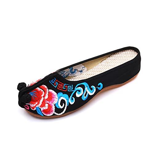 Zapatos De Artes Marciales para Mujer Zapatos Antiguos Chinos Kung Fu Tai Chi Shoes Suela De Goma Suela Casual,Negro,36 EU